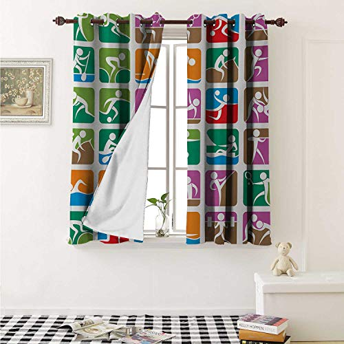 shenglv Olympics Room Darkening Wide Curtains Pictograms of The Summer Sports Sailing Wrestling Boxing Fencing Weightlifting Window Curtain Drape W108 x L72 Inch Green Purple