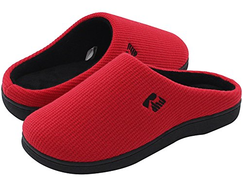 RockDove Women's Two-Tone Memory Foam Slipper (9-10 B(M) US, Red/Black)