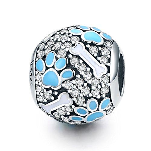 The Kiss Dog Puppy Paw Footprints Bones Blue Enamel 925 Sterling Silver Bead Fits European Charm Bracelet (Blue Enamel Bone)