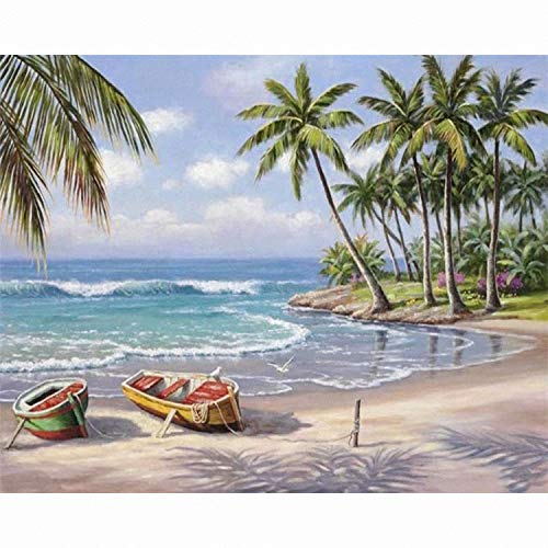 Artsailing Paint by Numbers Canvas for Adults Kids Beginner Kits -Sunny Sea Beach Coconut Tree Scene DIY Painting by Number with Brushes and Acrylic Canvas Art Home Decor Gift 16x20inch -