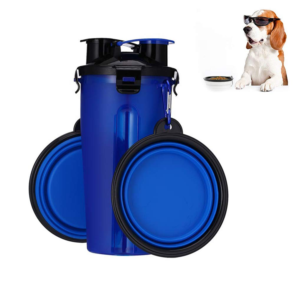 bluee Pet Water Drinker Portable 2 In 1 Portable Travel Dual Chambered Pets Drinking Cup Dog Cat Pet Puppy Travel Water Cup For Outdoor Trip,White