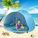 wilwolfer Pop Up Baby Beach Tent Lightweight Kiddies Shade Pool Play Tent 50 SPF UV Protection Sun Shelter Canopy Toy for Infant (Blue)