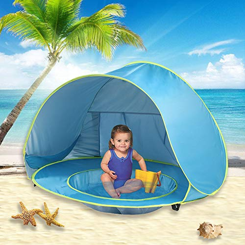 - wilwolfer Pop Up Baby Beach Tent Lightweight Kiddies Shade Pool Play Tent 50 SPF UV Protection Sun Shelter Canopy Toy for Infant (Blue)
