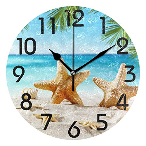 Naanle 3D Fresh Tropical Seashells Starfish on Summer Beach Silent Round Wall Clock Decorative, 9.5 Inch Battery Operated Quartz Analog Quiet Desk Clock for Home,Office,School (Quiet Bathroom For Wall Clocks)