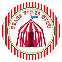 Circus Carnival Party Thank You Sticker Labels - Big Top Birthday Party Favor Supplies - Set of 30