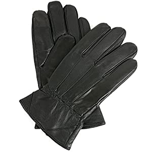Mens Leather Smartphone Dress Gloves for Touch Screen iPhone Android Tablet, XL, Black