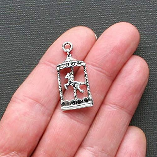 6 Carousel Horse Charms Antique Silver Tone Just Beautiful Jewelry Making Supply Pendant Bracelet DIY Crafting by Wholesale Charms