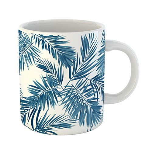 Emvency Coffee Tea Mug Gift 11 Ounces Funny Ceramic Indigo Blue Pattern Monstera Palm Leaves on Dark Summer Tropical Gifts For Family Friends Coworkers Boss ()