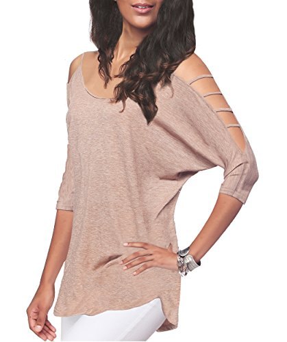 T-shirt Tip Top - Women's Off Shoulder Shirt Half Sleeve Tunic Top Casual Blouse,Tan,S