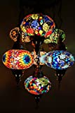 Multicolor Handmade Turkish Moroccan Type Mosaic Hanging Lamp Chandelier with 7 Large Size Globes