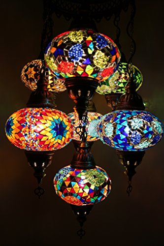 Handmade, Authentic, Mosaic Chandelier, Tiffany Style Glass, Moroccan/Ottoman Style Night Lights (Blue and Red, 7 Globes)]()