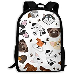 Hsji8 Cute Puppy and Dog Mixed Breed Travel Bag Resistant Laptop Bag Anti-Theft Shoulder Daypack School Backpack