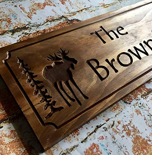 Moose Lodge Personalized Wood Plaques Rustic Signs Wood Cabin Lodge Camp Signs Camping Fathers Day Benchmark Signs ()