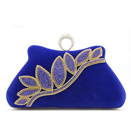 Terciopelo Bolso Del Cheongsam Modelos Femeninos Bolso De Mano Paquete De Cadena Diamante Bolso De Tarde Hombro Bolso Del Mensajero Embrague Blue