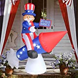 SEASONBLOW 4th of July Inflatable Independence Day Decoration (Uncle Sam on Rocket)