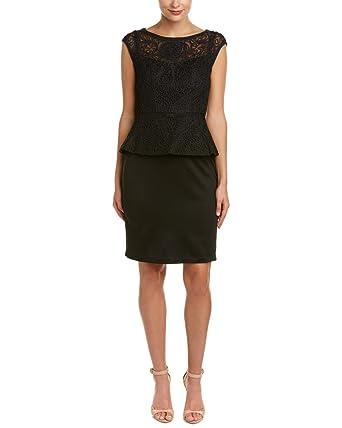 Sue Wong Womens Peplum Lace Cocktail Dress Black 6 At Amazon Women S