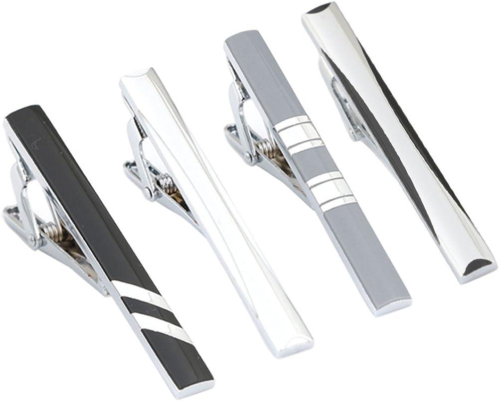 GWD 4 Pcs Men Tie Bar Clip Set for Necktie Wedding Business with Gift Case