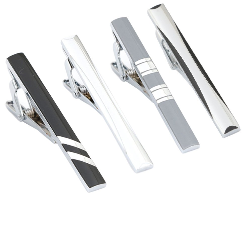 GWD 4 Pcs Men Tie Bar Clip Set for Necktie Wedding Business with Gift Case (Style A)