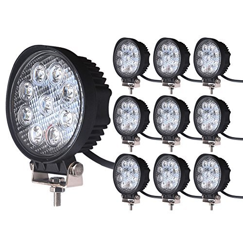 LEDKINGDOMUS 10pack 4inch 27W Flood Round LED Work Light Fog Light Waterproof Offroad Driving Led light for Jeep SUV Boat Truck ATV Car
