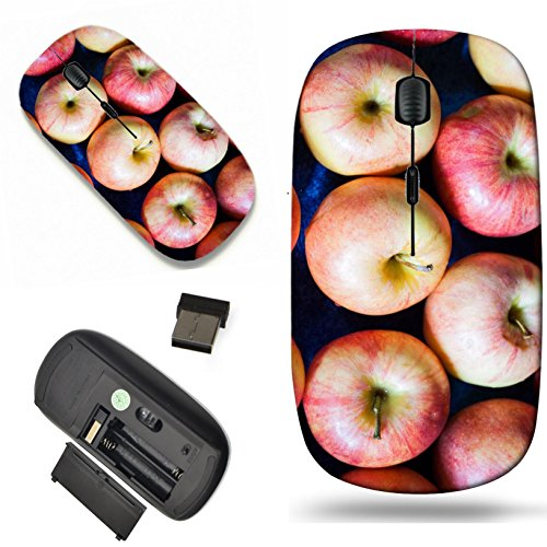 (Luxlady Wireless Mouse Travel 2.4G Wireless Mice with USB Receiver, 1000 DPI for notebook, pc, laptop, macdesign IMAGE ID: 22116629 organic apples candid shot in market place for background)