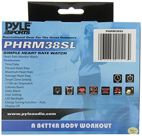 Pyle Sports PHRM38SL Heart Rate Monitor Watch with Minimum, Average Heart Rate, Calories, Target Zones, Silver
