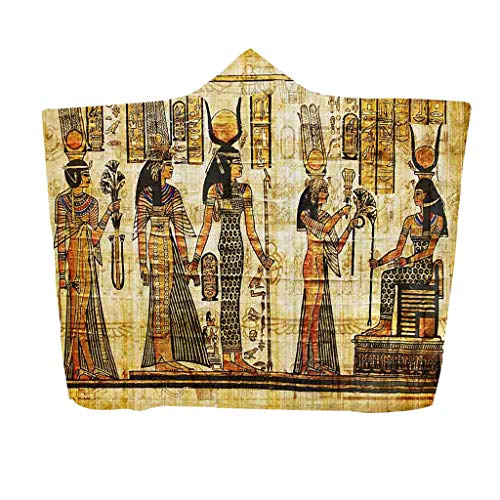 Clearance Sale!DEESEE(TM)Ancient Egyptian Pharaoh Hooded Blanket Napping Blanket Wearing a Hat Blanket (A) -