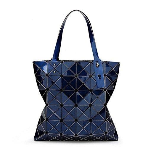 15 Colors Women Geometry Bao Tote Shimmer Handbag Diamond Lattice Shopper Deep blue