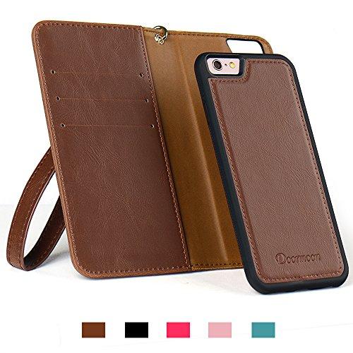 私授業料どう?スマホ6S 手帳型 ケース Doormoon 携帯6 ケース 財布型 スタンド機能 分離式 カード収納 人気 おしゃれ (iphone6/6s, ブラウン)