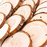 Natural Wood Slices 30 Pcs Unfinished Predrilled with Hole Wooden Circles for Centerpieces Coasters Christmas Ornaments DIY Crafts
