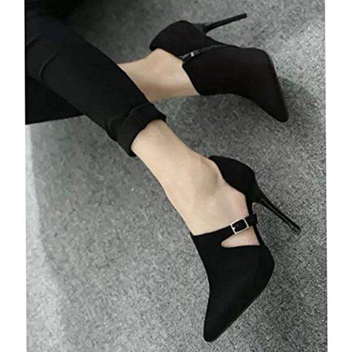 KHSKX-Single Side Air Spring Hebilla Zapatos Y Zapatos De Mujer Zapatos De Tacon Otoño Nueva Hembra Con Un Fino Commuter Zapatos De PuntaTreinta Y NueveBlack