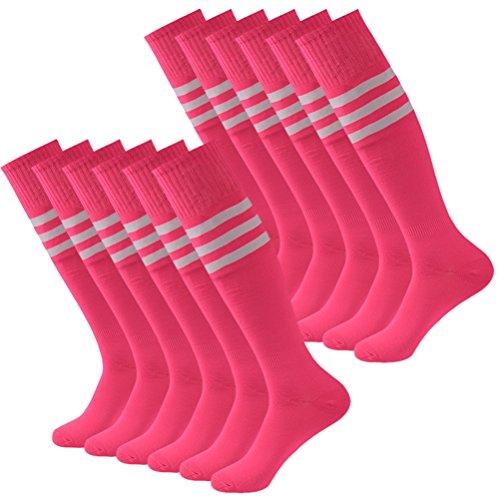 Soccer Socks,Fasoar Mens Womens Athletic Long Tube Team Socks 12 Pairs Pink White Stripe