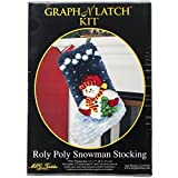 M.C.G. Textiles #37783 Latch Hook Kit, 12 by 17-Inch, Roly Poly Snowman Christmas Stocking