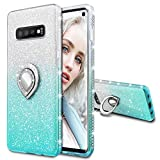 Maxdara Case for Galaxy S10 Glitter Case with Ring Holder Gradient Kickstand Series Bling Sparkle Diamond Rhinestone Protective Bumper Luxury Pretty Fashion Girls Women Case (Silver Teal)