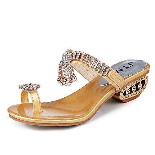 AOJIAN Women Summer Sandals Flip Flop Fashion Rhinestone Wedges Shoes Crystal High Heels Shoes (7, (Crystal Footwear)