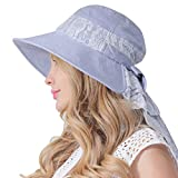 CACUSS Women's UPF 50+ Foldable Summer Bucket Sun Hats Wide Brim Beach Shade Caps (Blue with Neck Flap)