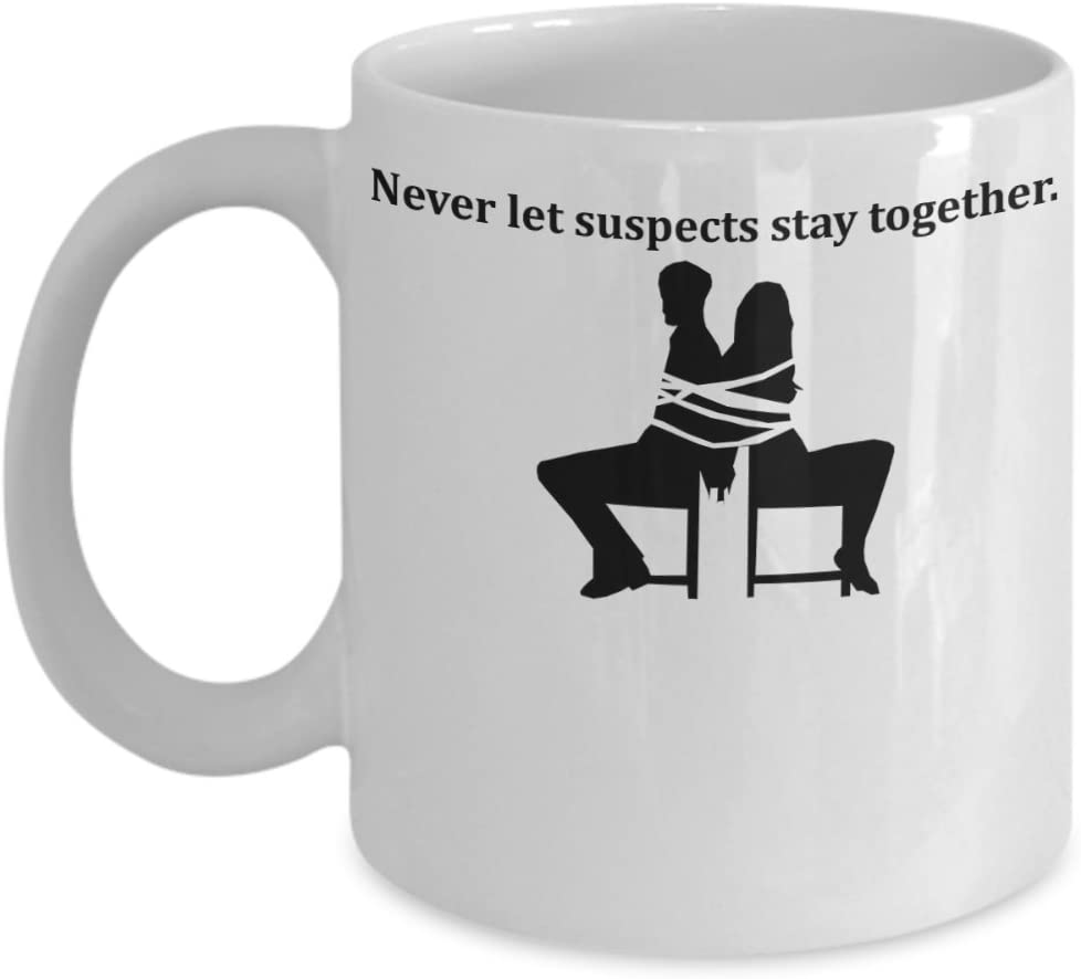 Never Lets Suspects Stay Together NCIS Coffee Mug Cup (White) 11oz Gibbs Rules NCIS Gift Merch Merchandise Accessories Shirt Pin Decal Decor Ducky Ziva Abby