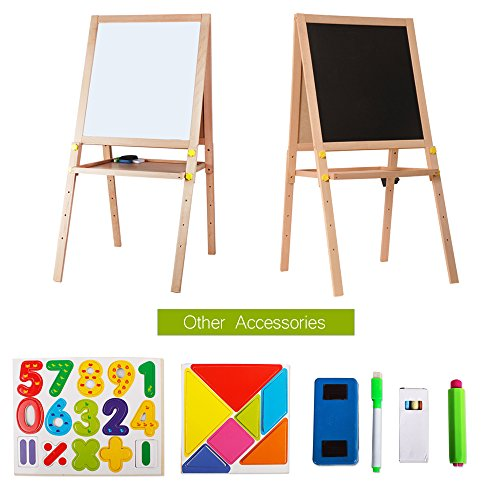Kids Standing Art Easel Wooden Double Sided Adjustable Height Magnetic Drawing Board with Tray and Accessories by YIRAN (Image #2)