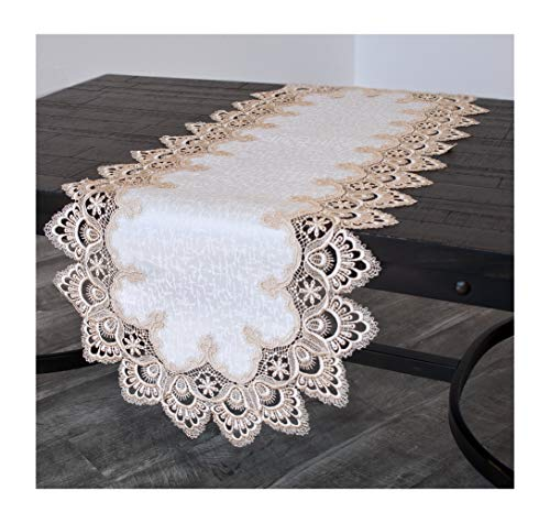 Gold European Lace and Antique Jacquard Fabric Table Runner Dresser Scarf Coffee Table Runner 16 x 54 Inch Farmhouse