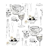 York Wallcoverings KB8575 Bistro 750 Graphic Tableware Prepasted Wallpaper, White / Black / Gray / Sand