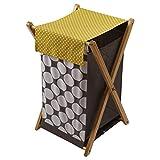 Dots/Pin Stripes Grey/Yellow Hamper