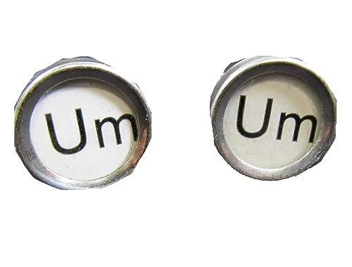 miniblings UM Gemelos Blancos máquina de Escribir de época Clave única