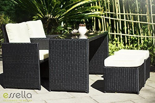 essella polyrattan essgruppe vienna 2er in schwarz g nstig bestellen. Black Bedroom Furniture Sets. Home Design Ideas