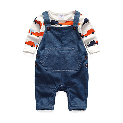 Newborn Baby Boy Baby Girl Unisex Clothes Denim Long Sleeve Suspenders Outfit Set 3-6 (Boys Easter Clothing)