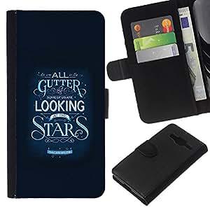 KLONGSHOP // Tirón de la caja Cartera de cuero con ranuras para tarjetas - Estrellas Inspirar Texto motivación Azul - Samsung Galaxy Core Prime //