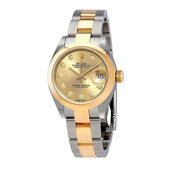 Rolex 279163CDO - Reloj de pulsera para mujer con dial de diamante de champán Datejust 28