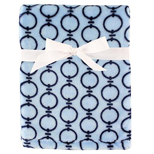 Hudson Baby Silky Plush Blanket, Blue Links