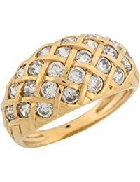 10k Yellow Gold White CZ Cluster Dome Design Classy Ladies Band Ring