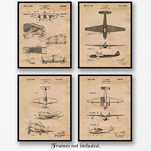 Original Vintage Airplane Patent Art Poster Prints- Set of 4 (8x10) Unframed, Great Wall Art Decor Gifts Under 20 for Home, Office, Studio, Garage, Man Cave, Student, Teacher, Pilot, Aviation Fan