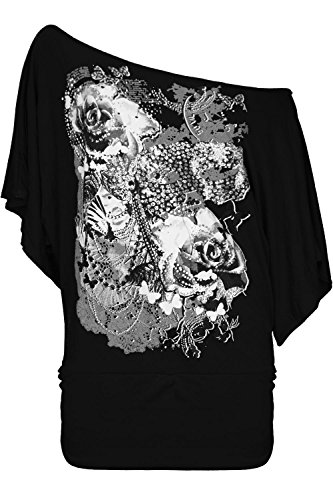 Oops Outlet Women's Roses Butterfly Off Shoulder Bardot Batwing Sleeve Tops Plus Size (US 16/18) Black
