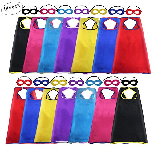 Superhero Capes and Masks for Kids Bulk Costume- Boys Girls Super Hero Dress Up Birthday Party Supplies,14 Pack (28 Pieces) ()